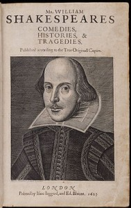 The Title page of the First Folio with the Droeshout engraving