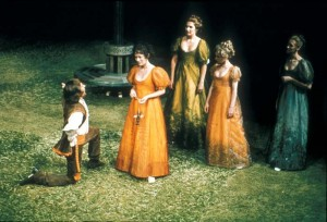 Berowne (!an Richardson) kneels before Rosaline (Estelle Kohler). Behind her is the Princess, played by Susan Fleetwood and her ladies