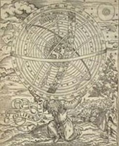 A Ptolemaic view from 1559. Atlas bearing the universe on his shoulders