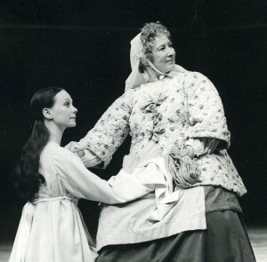 Francesca Annis as Juliet and Marie Kean as the Nurse, Romeo and Juliet, RSC 1976