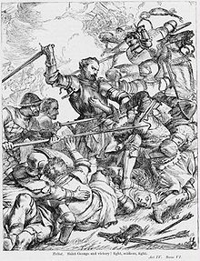 Illustration by H C Selous of Talbot in battle from an 1830 edition of Shakespeare