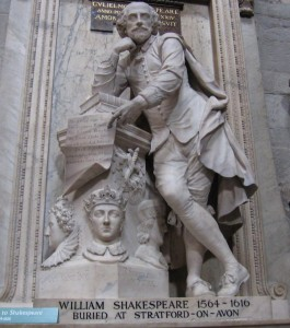 The statue of Shakespeare in Poets' Corner