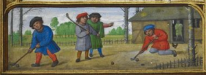A miniature of four men playing a game resembling golf, at the bottom of the calendar page for September (London, British Library, MS Additional 24098, f. 27r).