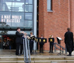 Performing the fanfare for the Stratford-upon-Avon Music Festival