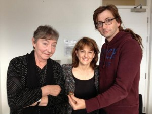 Maroussia Frank, the BBC interviewer and David Tennant with the ring