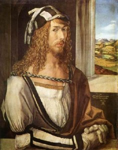 Albrecht Durer self-portrait painted in 1498 shows him flamboyantly dressed, including fine kid gloves. Musee del Prado in Madrid.