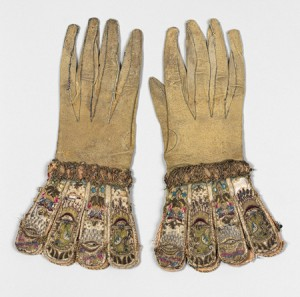 A pair of gloves dating from c 1600