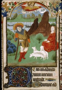 Annunciation to the Shepherds, book of hours (Bibliotheque Sainte-Genevive in Paris, c. 1433-1465