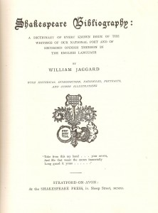 The title page of the Shakespeare Bibliography