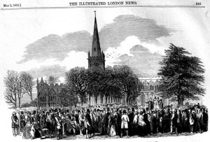 The gathering outside Holy Trinity Church, 1853