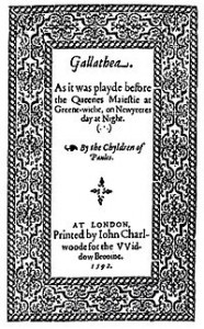 Title page of John Lyly's Galatea