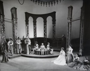 The Merchant of Venice, 1953. Includes John Bushelle as the Prince of Morocco, Anthony Adams, Robert Scroggins and James Morris as the pages, Peggy Ashrcoft as Portia, Marigold Charlesworth as Nerissa. Photographer Angus McBean