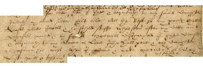 Part of Shakespeare's will in which he mentions Susanna and John Hall who inherited most of his estate