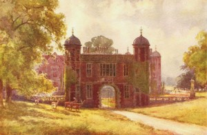 E W Haslehust's painting of the gatehouse at Charlecote House