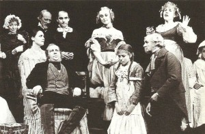 In the back row, as so often, Jeffery Dench as one of the company in Nicholas Nickleby
