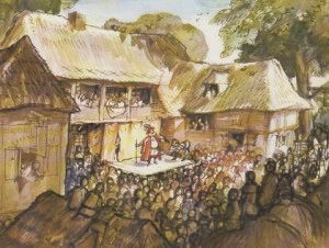 C Walter Hodges' painting of actors outside a country inn