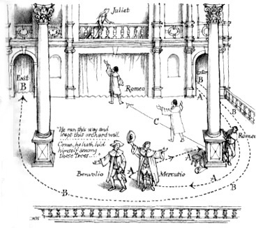 romeo and juliet s balcony scene the shakespeare blog c walter hodges illustration of the balcony scene