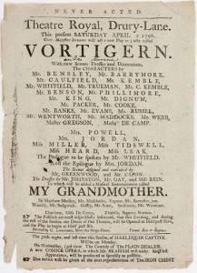 The playbill for the performance of Vortigern