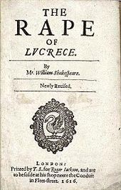 Title Page of the 1616 quarto edition of The Rape of Lucrece