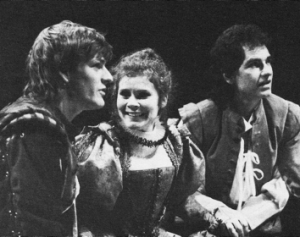 Sean Bean, Imelda Staunton and Paul Greenwood in the RSC 1986 production of The Fair Maid of the West