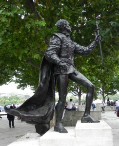 The statue of Laurence Olivier outside the National Theatre, London