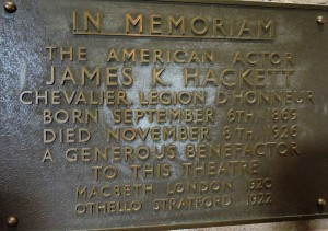 The plaque to James K Hackett at the RST