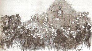 The auction for the Birthplace. Jones is the tall man near the back on the left