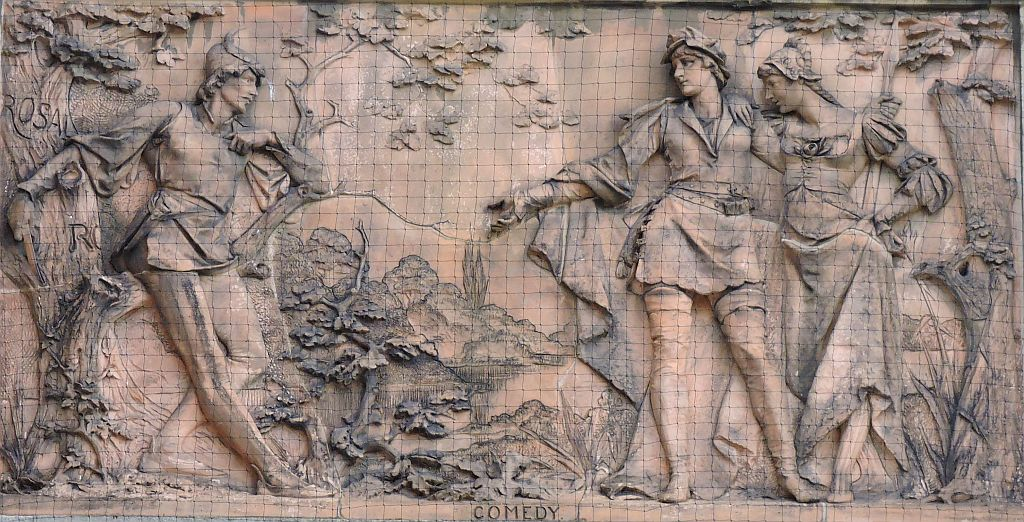 The terracotta panel of Mary Anderson playing Rosalind