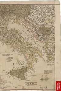 Map of Italy from Mercator's Map of Europe