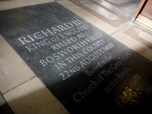 The present memorial to Richard III in Leicester Cathedral