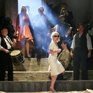 Musicians on stage for The Taming of the Shrew in 2012