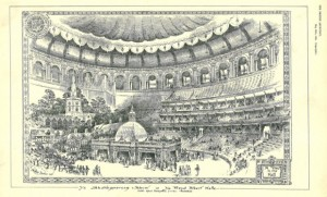 The Royal Albert Hall decorated for the SMNT Ball, 1911