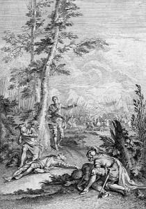 Francois Gravelot's engraving showing the father who has killed his son and the son who has killed his father