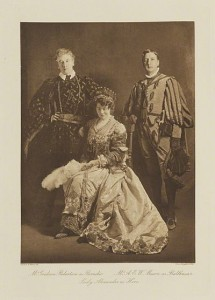 Mr Graham Robertson as Borachio, Mr A Moson as Balthasar and Lady Alexander as Hero, SMNT Ball, 1911