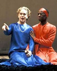 Tom Hollander as Celia and Adrian Lester as Rosalind, As YOu Like It, Cheek by Jowl, 1991