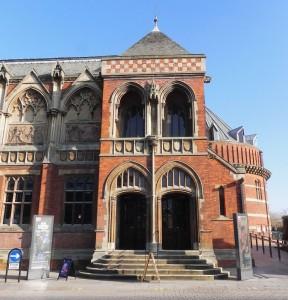 The entrance to the original Shakespeare Memorial Theatre