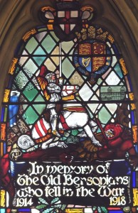 The stained glass window in the Swan Wing commemorating the members of the Benson Company who lost their lives in World War 1