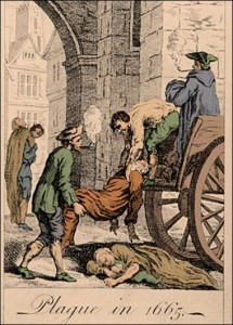 Collecting bodies during the Great Plague of London, 1665