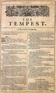 The title-page of The Tempest in the 1623 First Folio