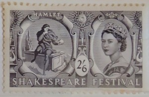The highest denomination stamp showing Hamlet and the skull