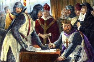 A nineteenth-century engraving showing a grumpy King John signing Magna Carta (in fact it was not signed)