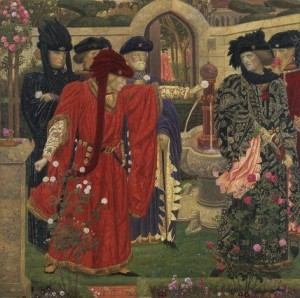 Study by Henry Arthur Payne for his painting Plucking the Red and White roses in the old Temple Garden.