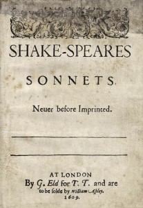 Shakespeares Sonnets title page 1609
