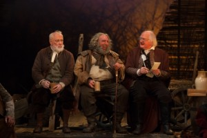 Jim Hooper as Silence, Antony Sher as Falstaff, Oliver Ford Davies as Shallow in the RSC's 2014 production of Henry IV Part 2. Photo by Kwame Lestrade
