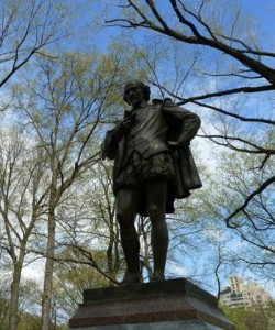 The statue of Shakespeare in Central Park New York