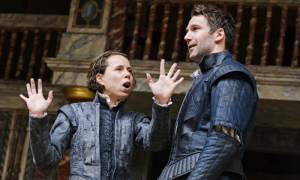 Michelle Terry as Rosalind and Simon Harrison as Orlando at Shakespeare's Globe 2015. Photo by Tristram Kenton