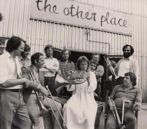 Michael Tubbs (on the right, with a beard). It shows a young Helen Mirren surrounded by RSC musicians and actor Geoffrey Hutchings in around 1970.