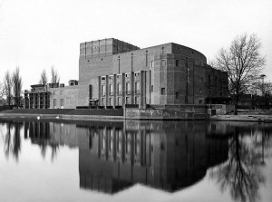 Shakespeare Memorial Theatre nearing completion, Stratford-upon-Avon