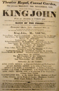 "King John playbill 1823 promising ""Habit of the period"""