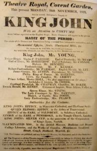 "King John playbill 1823 promising ""Habit of the period"""